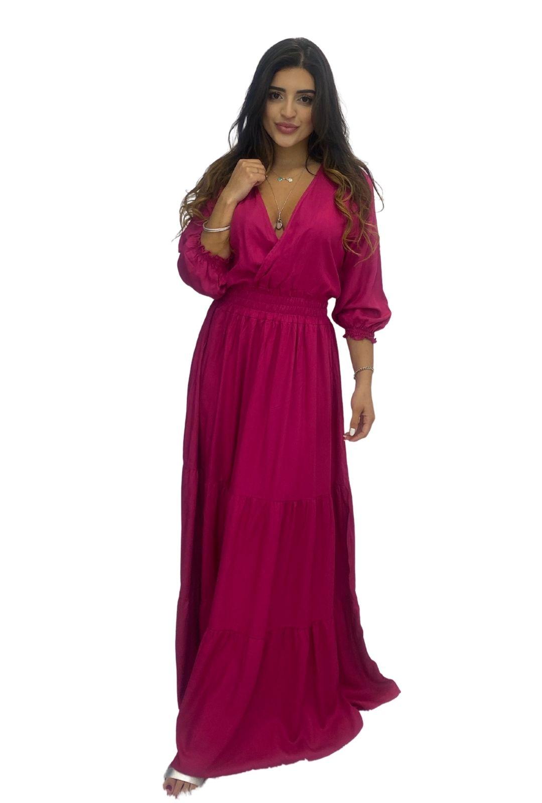 Vestido Longo Transpasse Lastex Viscose Pink
