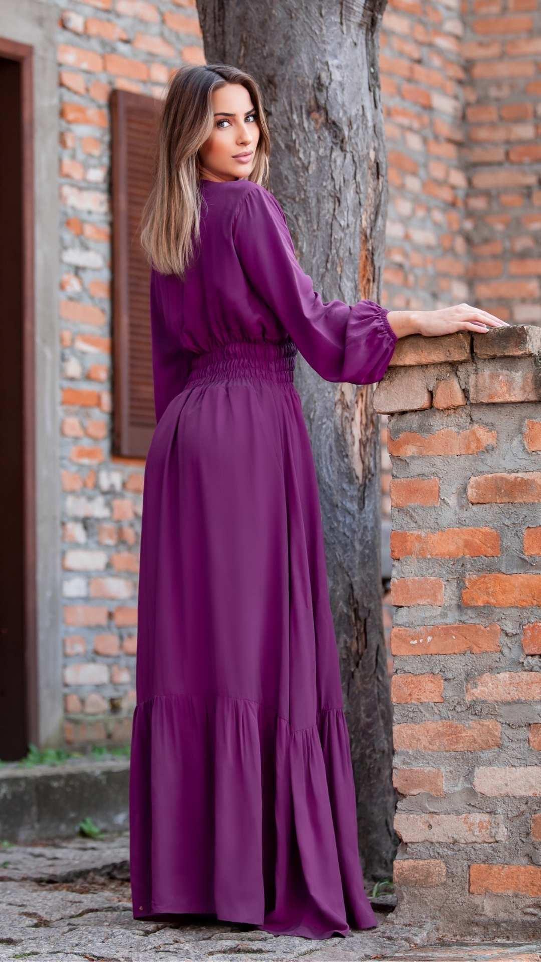Vestido Longo Transpasse Lastex Viscose Uva
