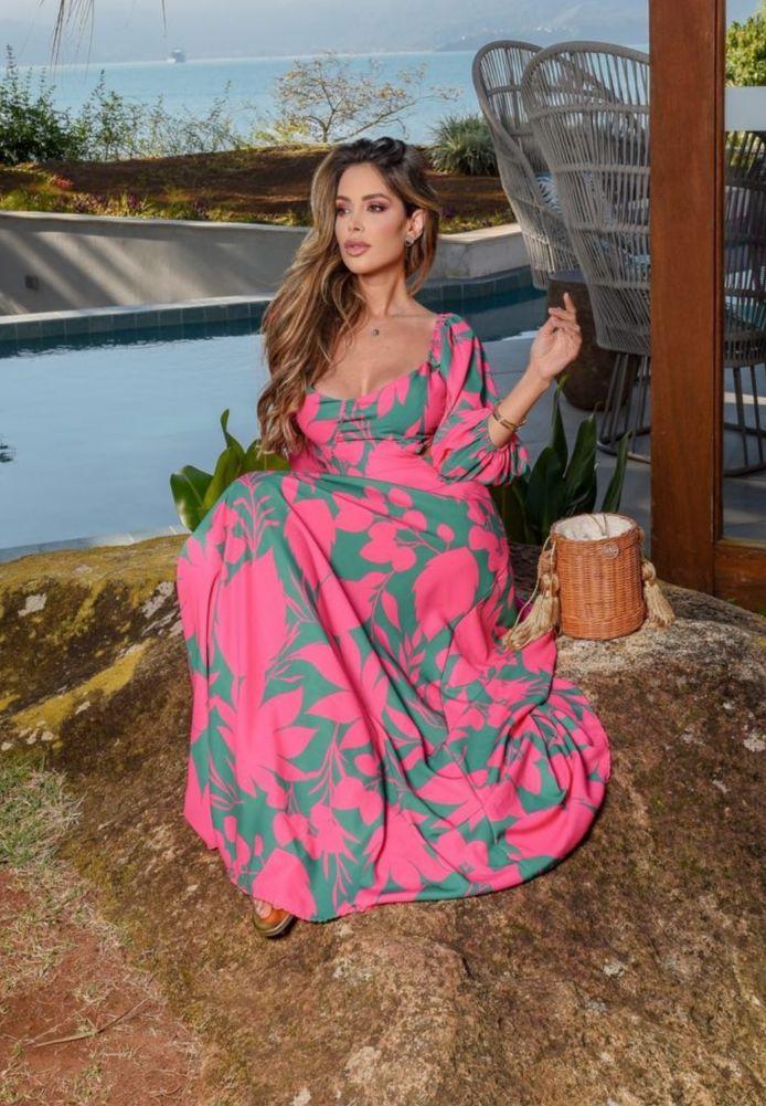 Vestido Longo Vazado Tamy Floral Rosa Crepe