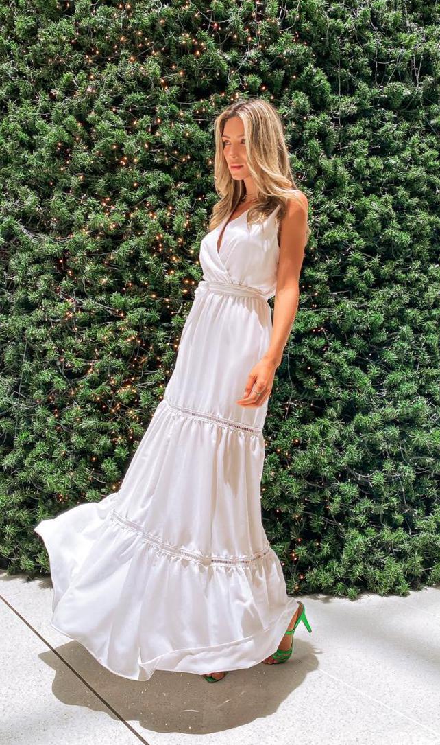 Vestido Longo Branco Transpassado Crepe