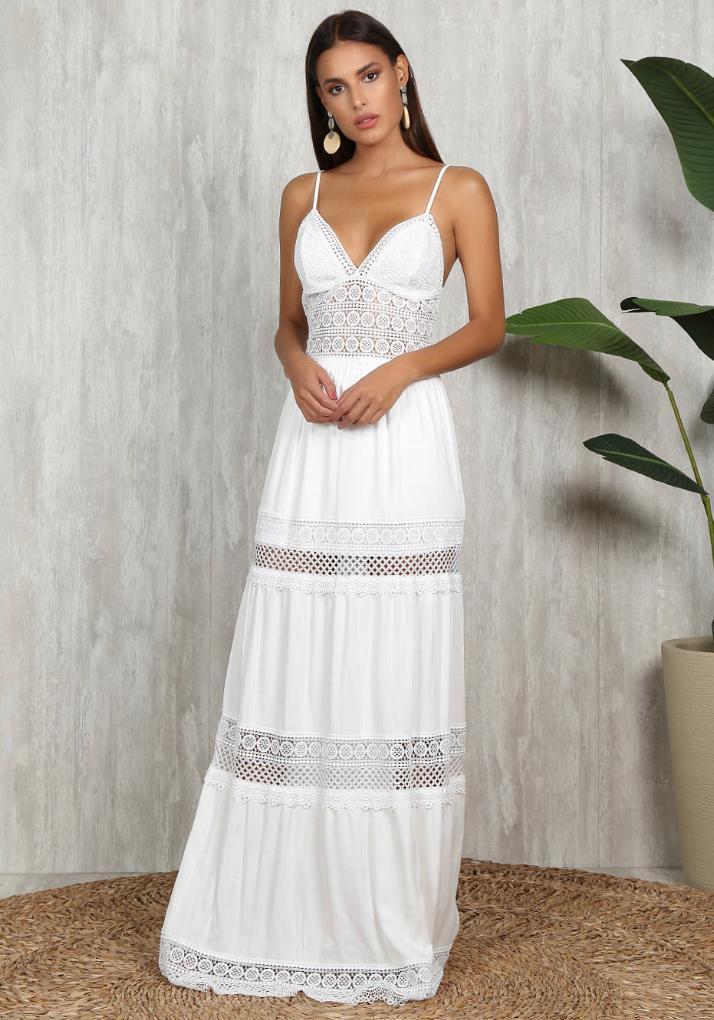 Vestido Longo Visco Lace Branco