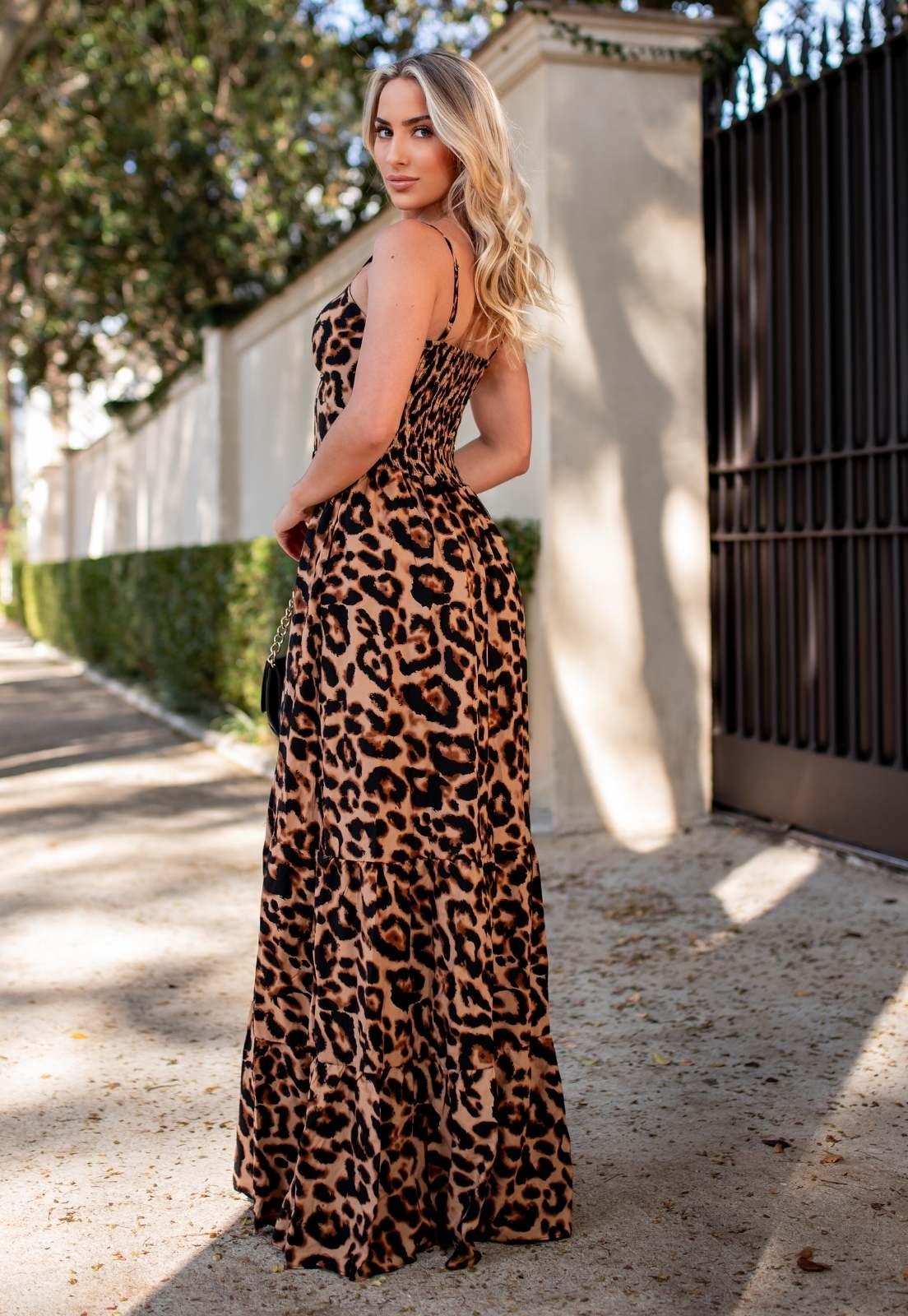 Vestido Longo Viscose Abertura com Bojo Onça Animal Print