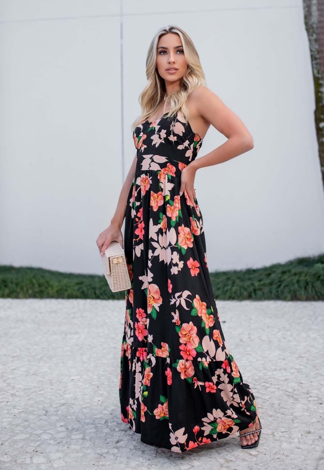 Vestido Lua Longo Viscolinho Alcinha Regulável Primavera-verão Floral