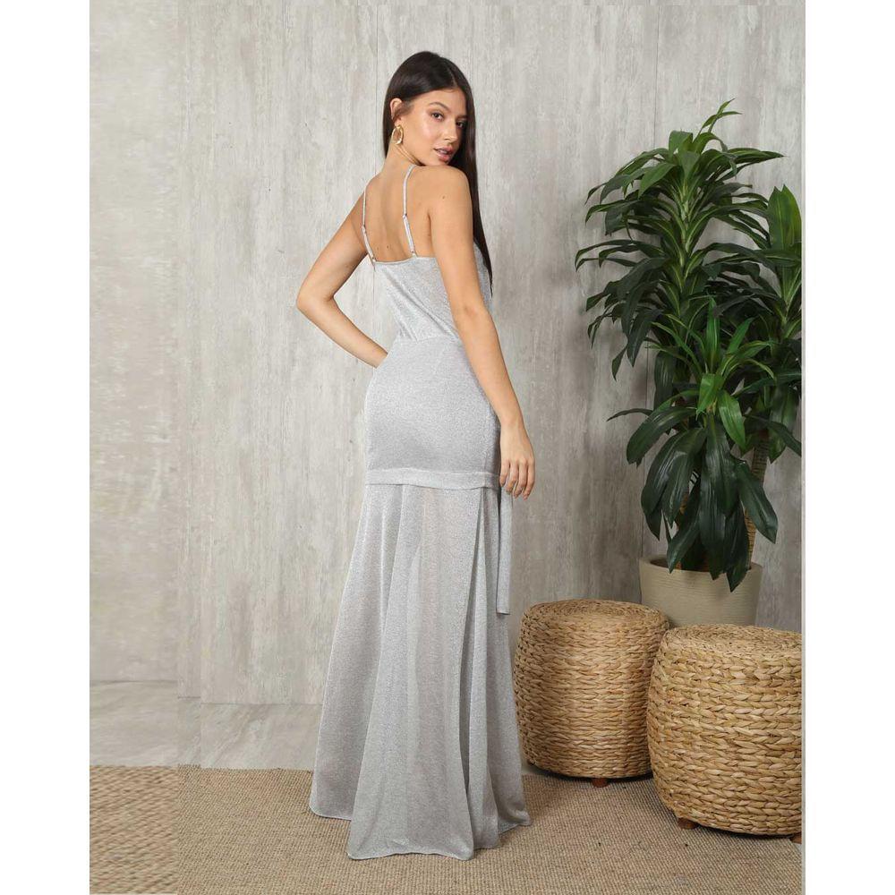 Vestido Lurex Longo Prata