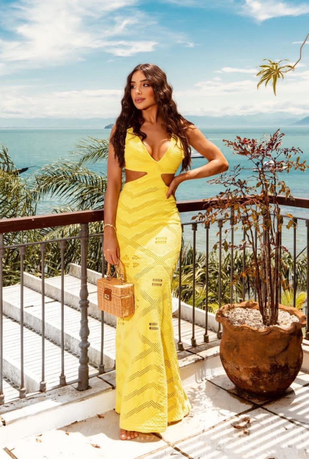 Vestido Marjorie Longo Abertura Jacquard