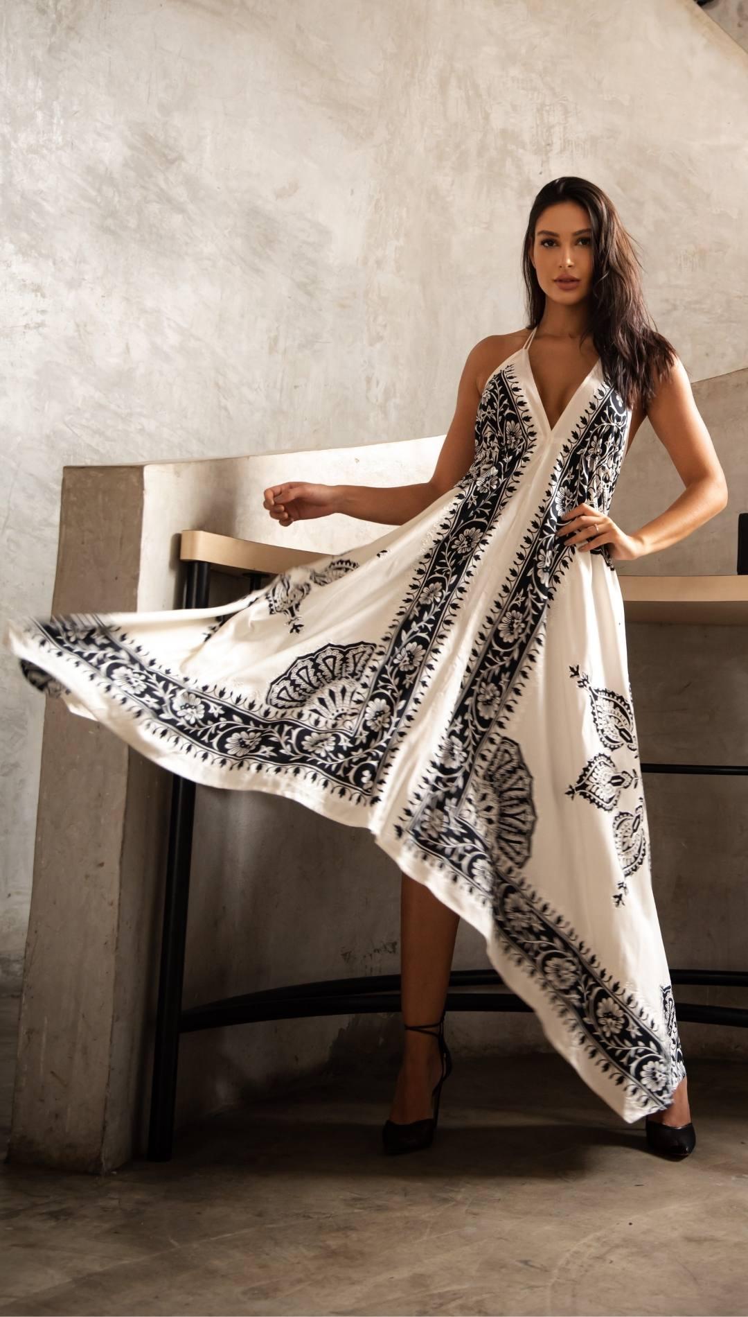 Vestido Midi Boho Indie Abertura Branco Viscose  Indiano