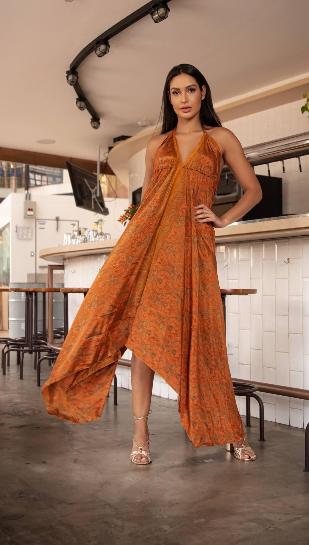 Vestido Midi Boho Indie Abertura Estampado Laranja  Indiano