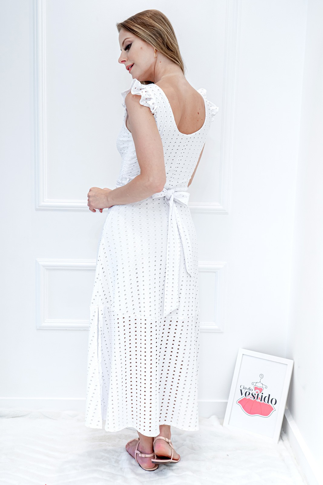 Vestido Midi Branco Laise com Botão