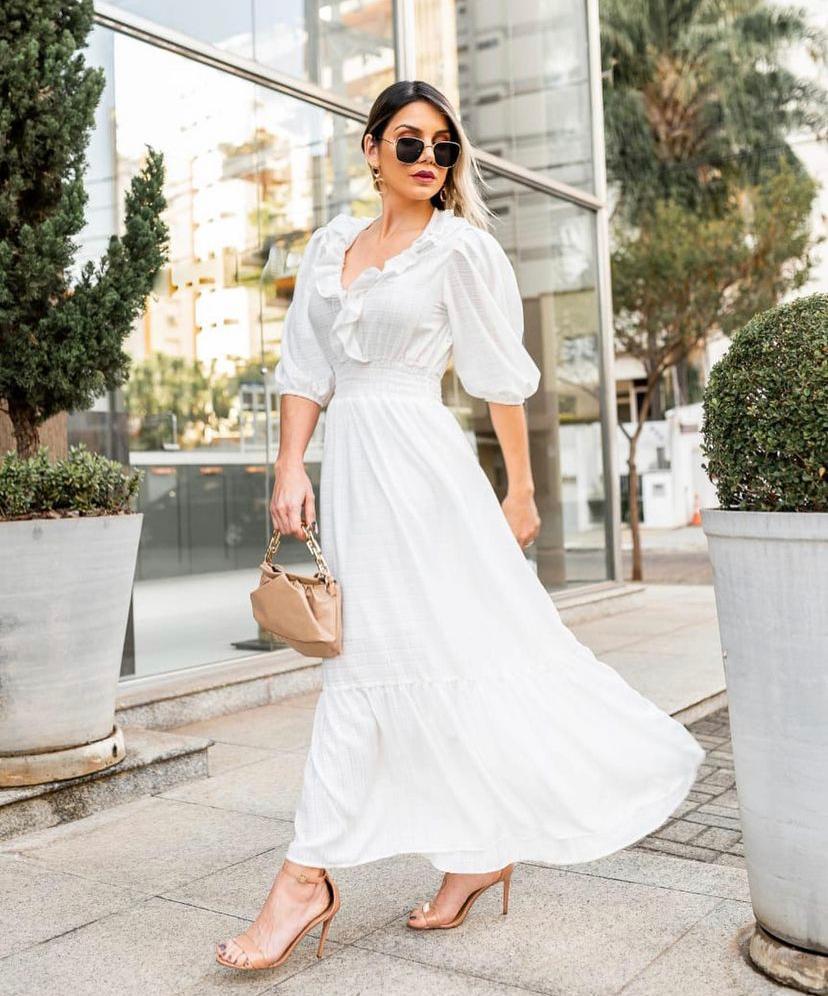 Vestido Midi Crepe Babados Branco Maguinha