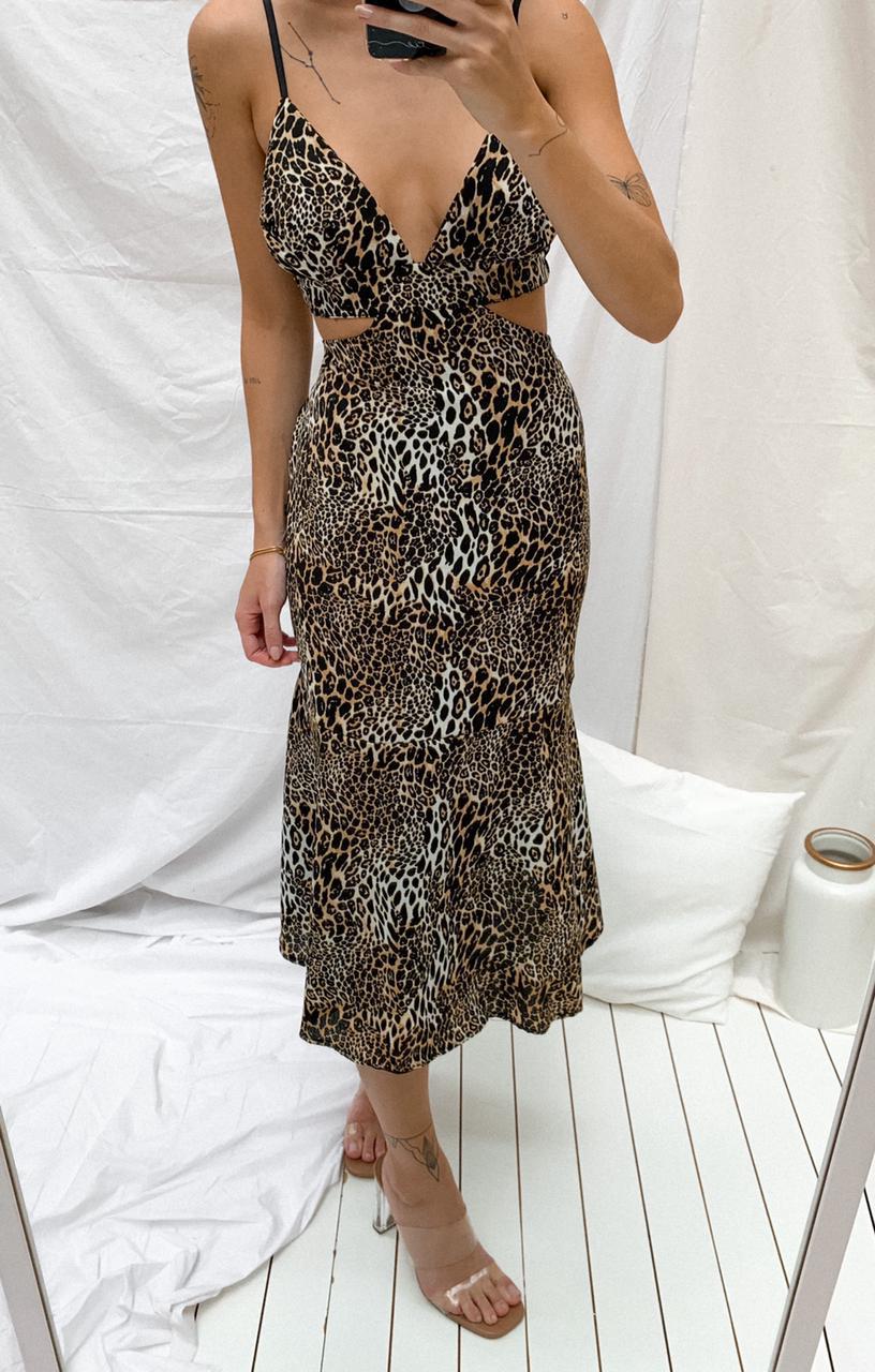 Vestido Midi Crepe Estampa digital Animal Print Oncinha
