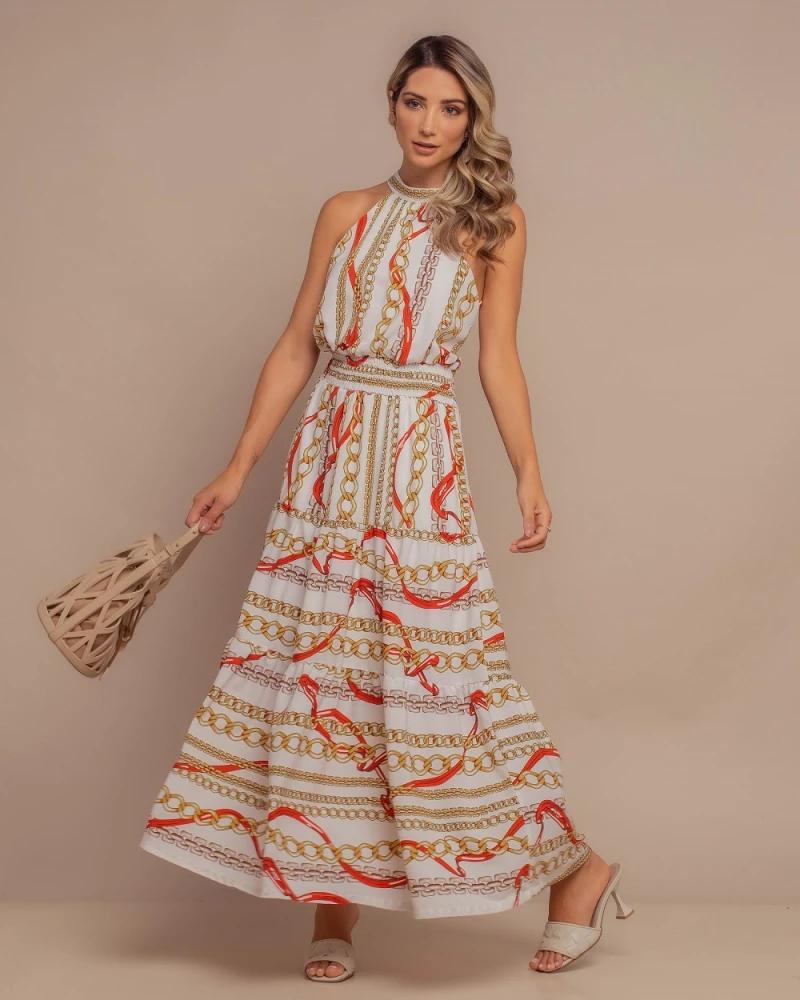 Vestido Midi Estampa Correntes Branco