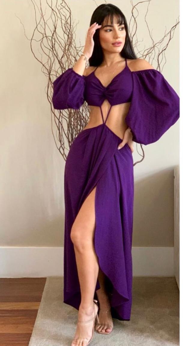 Vestido Midi Livia Abertura Mangas Bufantes