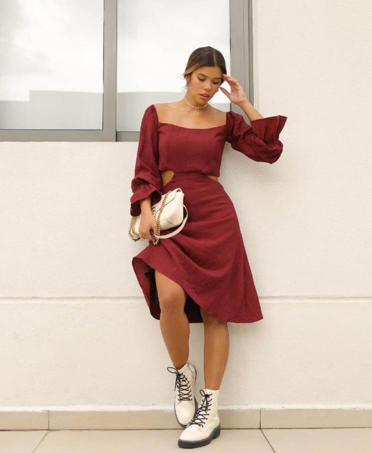 Vestido Midi Manga Longa Viscose Maria Briller Vinho