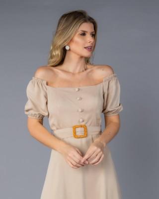 Vestido Midi Ombro a Ombro com Cinto