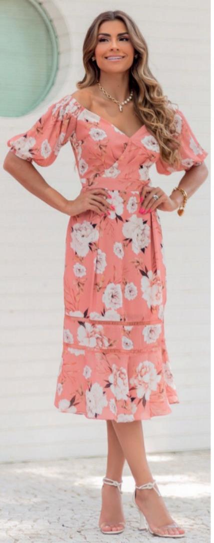Vestido Midi Ombro a Ombro Floral Romântico