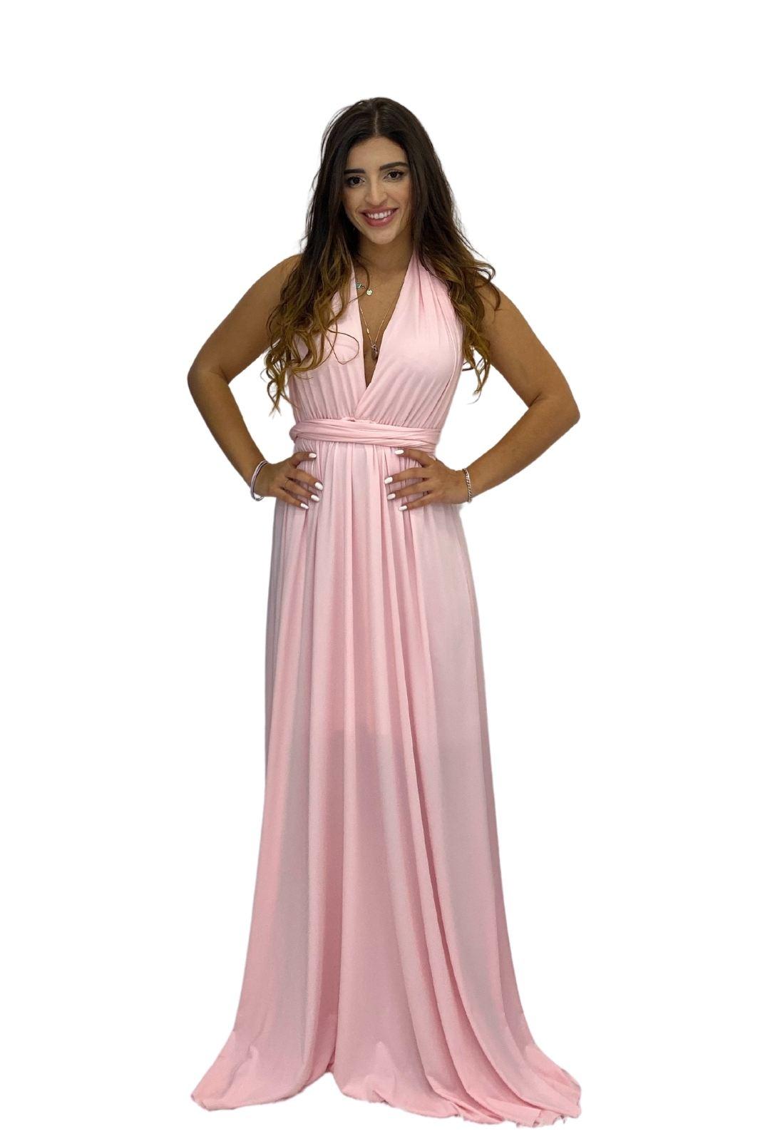 Vestido Multiformas Longo Festa Amarração Rosa