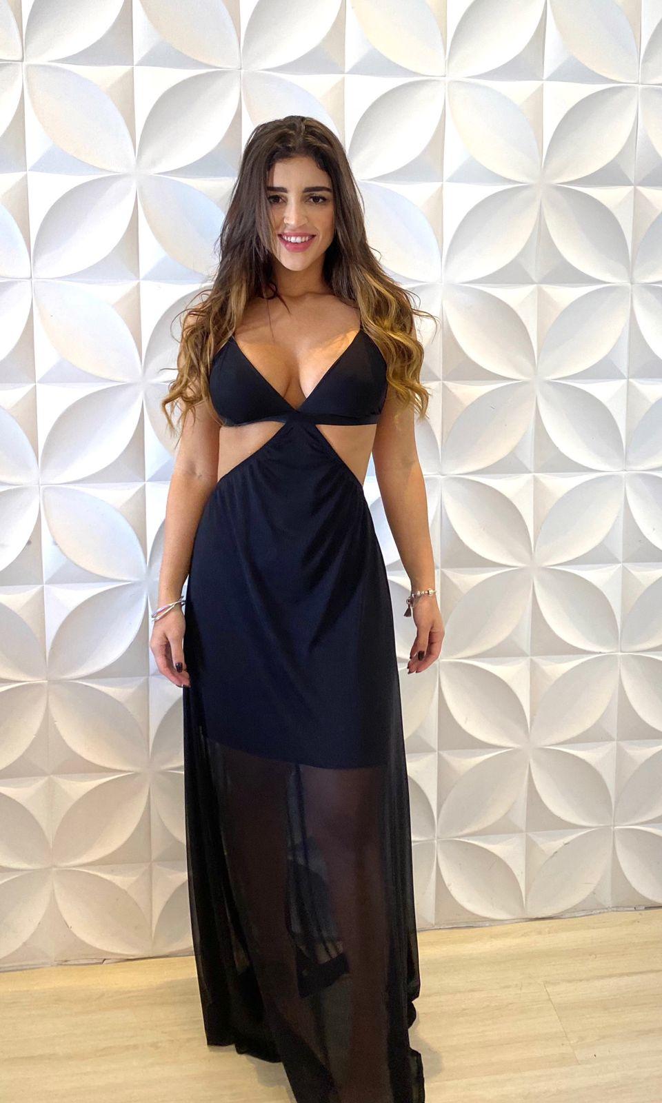 Vestido Premium Elysee  Frente Única Preto Longo