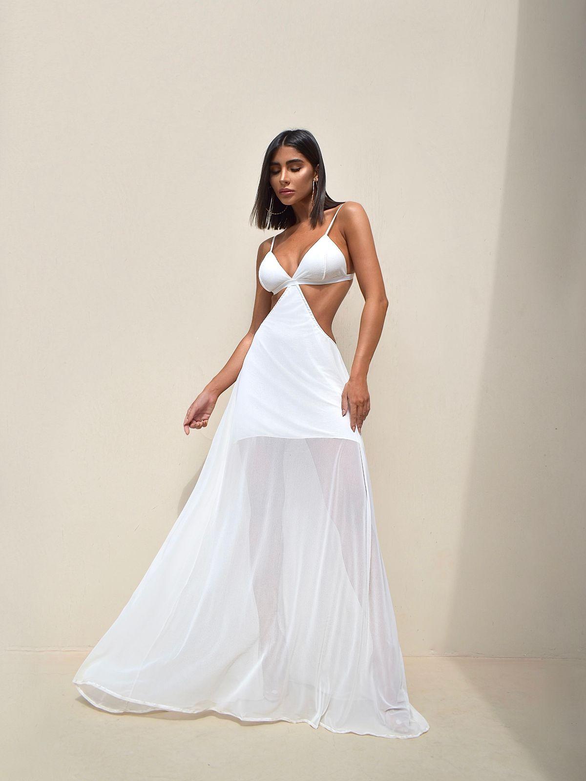 Vestido Premium  Frente Única Branco Longo