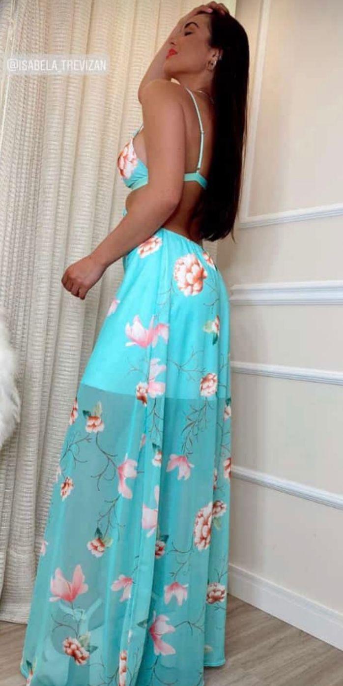 Vestido Premium Elysee  Frente Única Floral Longo  | PRÉ VENDA | POUCAS PEÇAS