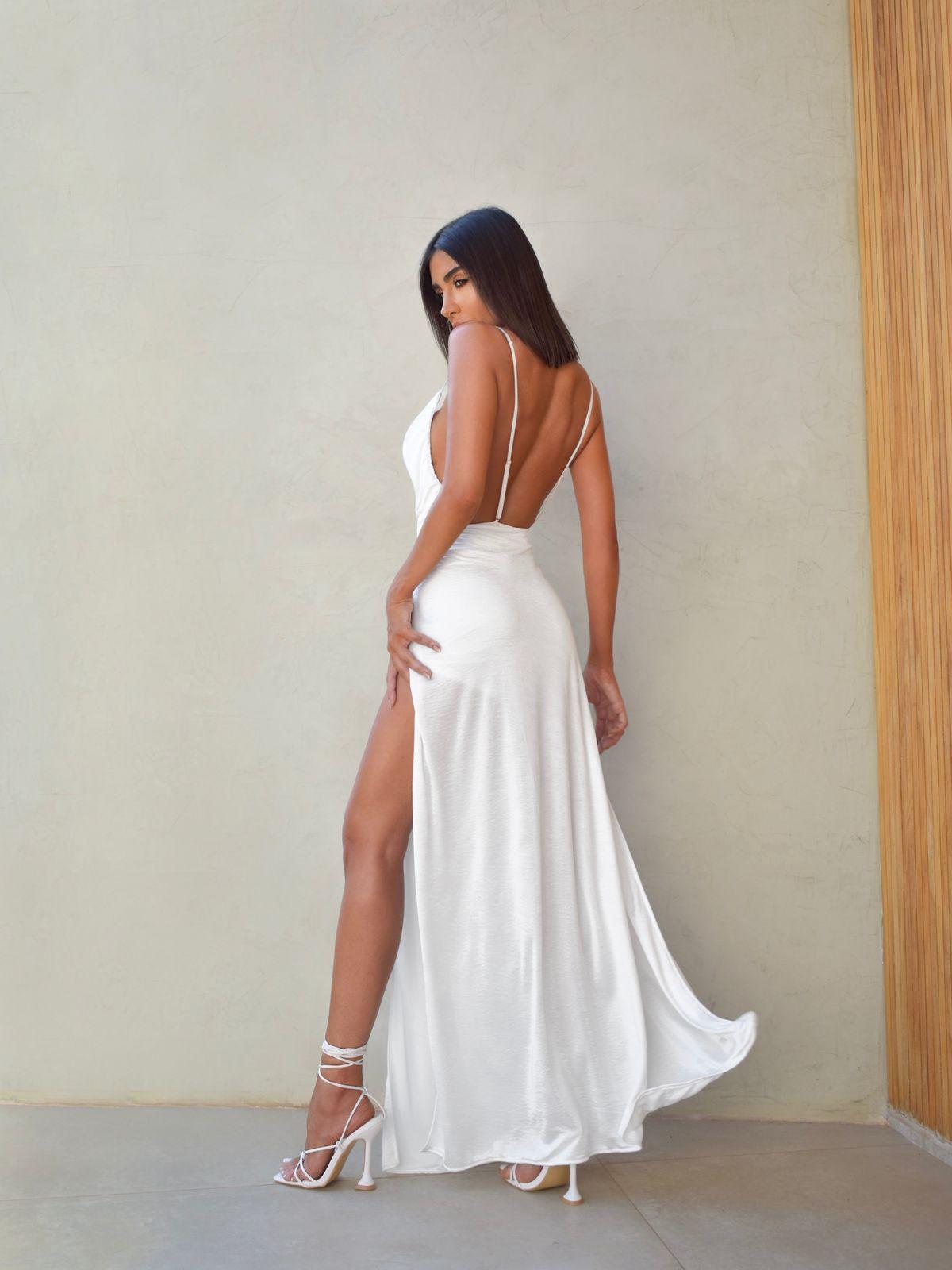 Vestido Premium Marília  Frente Única Longo  | PRÉ VENDA | POUCAS PEÇAS