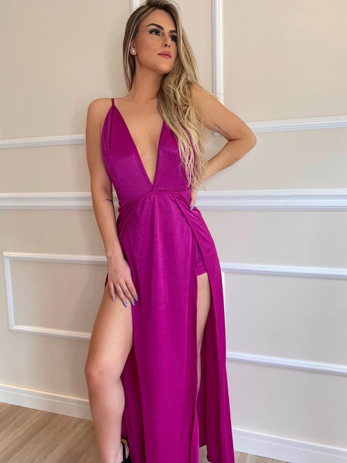 Vestido Premium Marília  Frente Única Longo