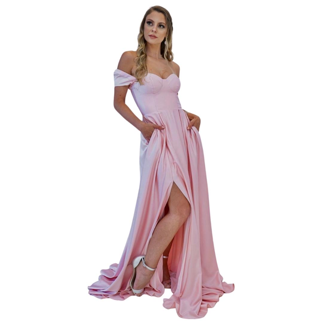 Vestido Princesa Acinturado Rosa