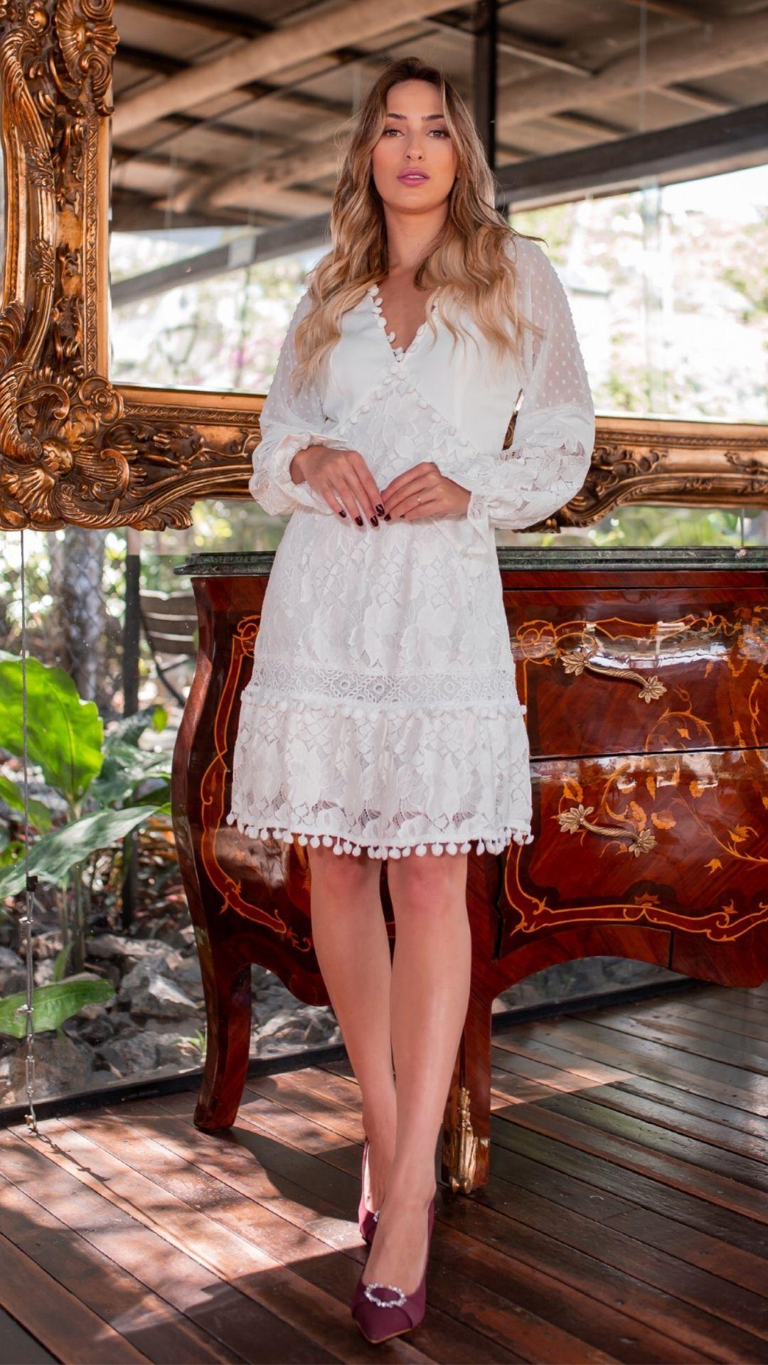 Vestido Renda Curto para Casamento Civil Manga Longa Branco