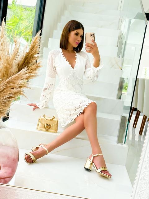 Vestido Renda Manga Longa Branco
