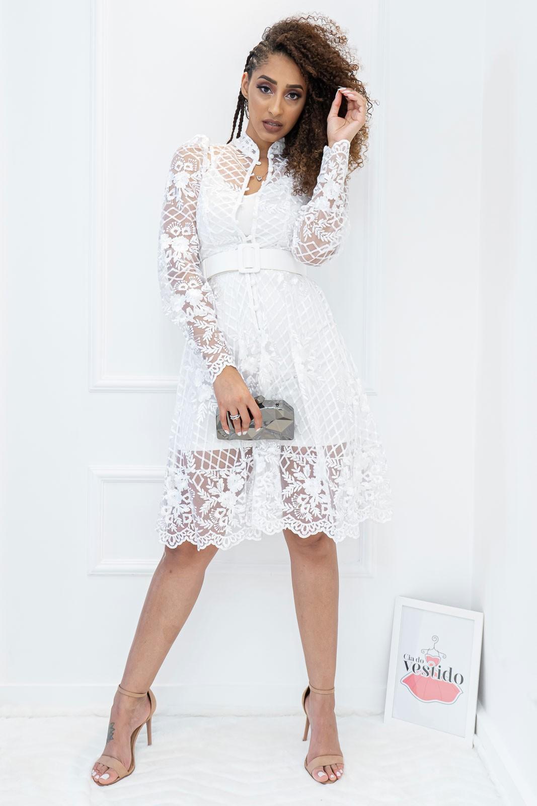 Vestido Renda Manga Longa Isis Branco Com cinto