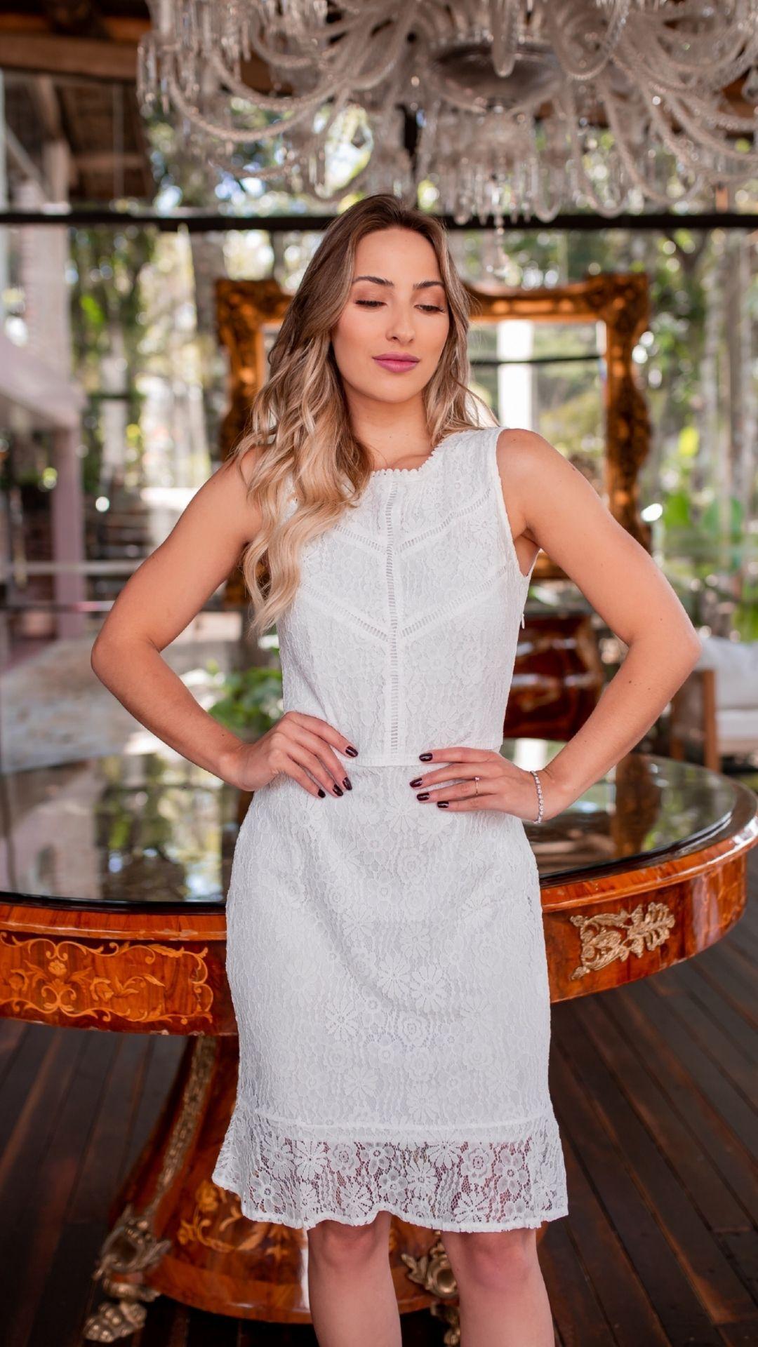 Vestido Renda Midi Branco
