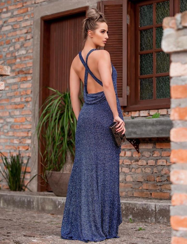 Vestido Sherazide Azul Marinho Escuro com Brilho