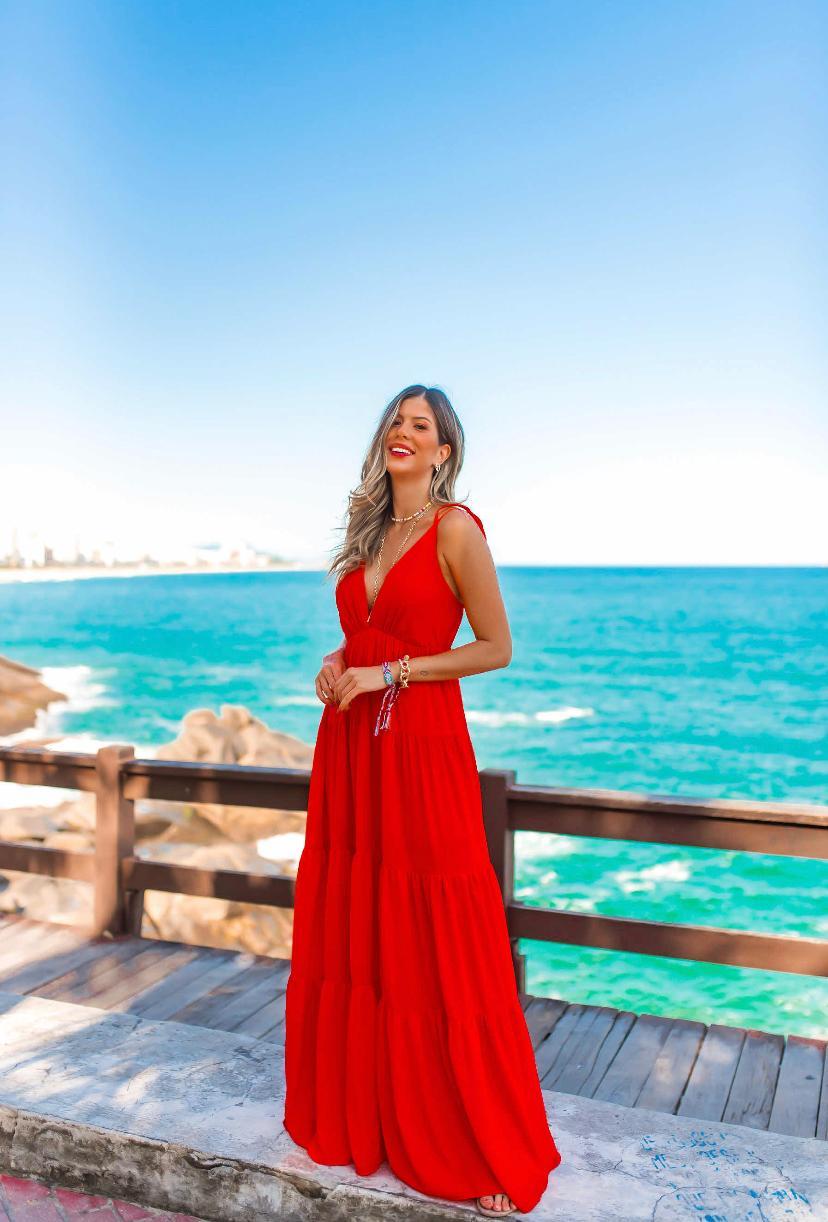 Vestido Summer Golden Hour Longo Vermelho