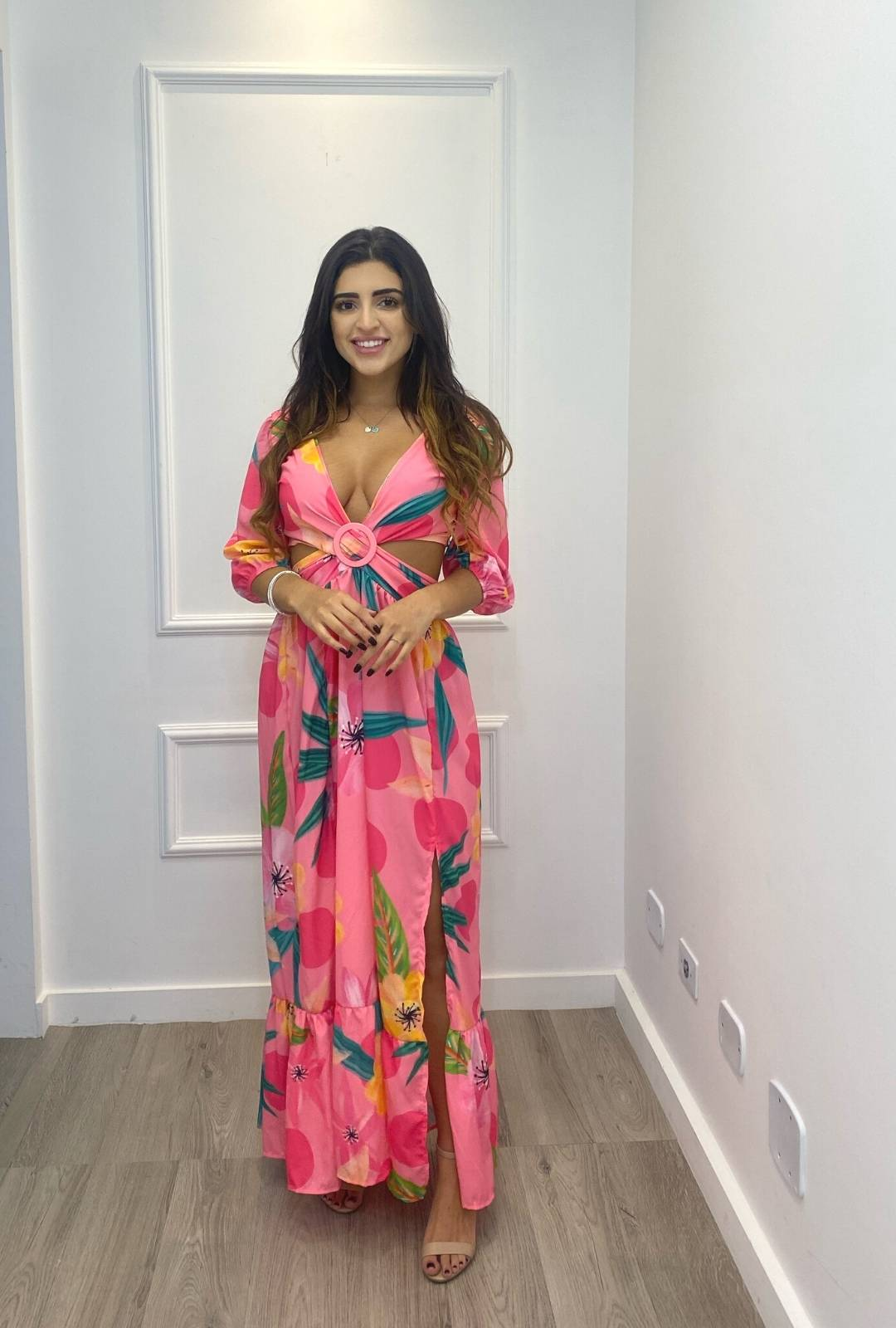 Vestido Thamirys Longo Floral Crepe Abertura Argola Rosa
