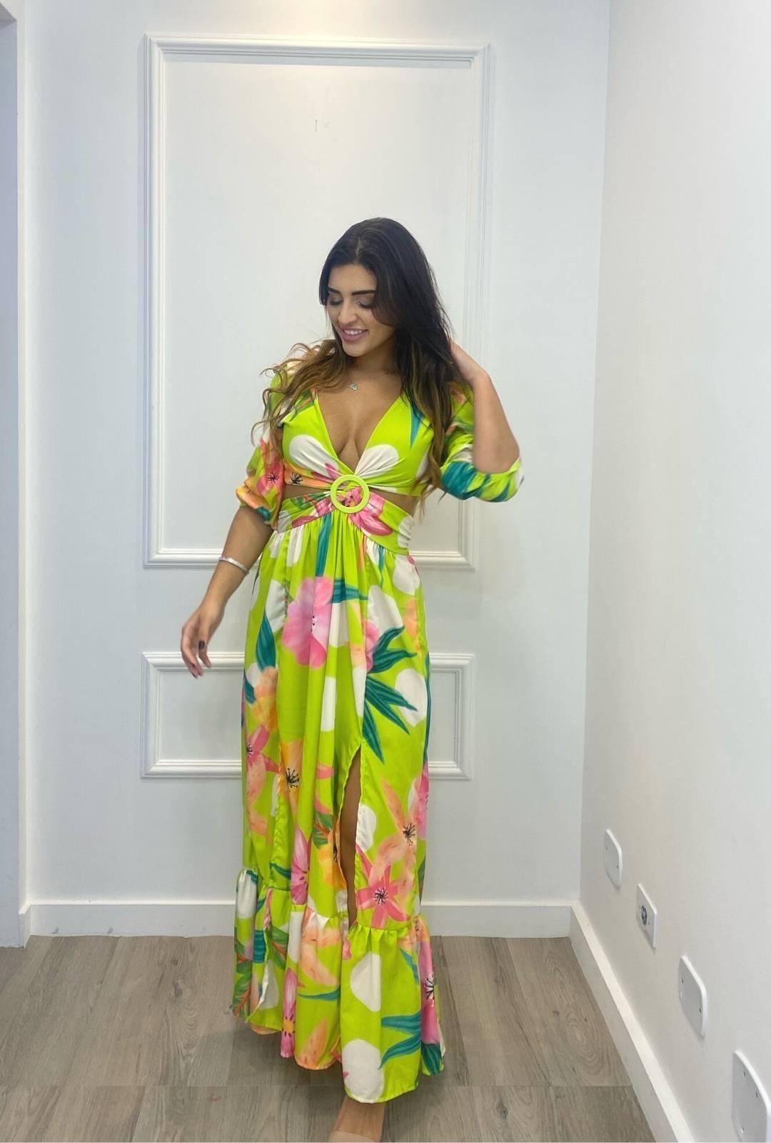 Vestido Thamirys Longo Floral Crepe Abertura Argola Verde Lima