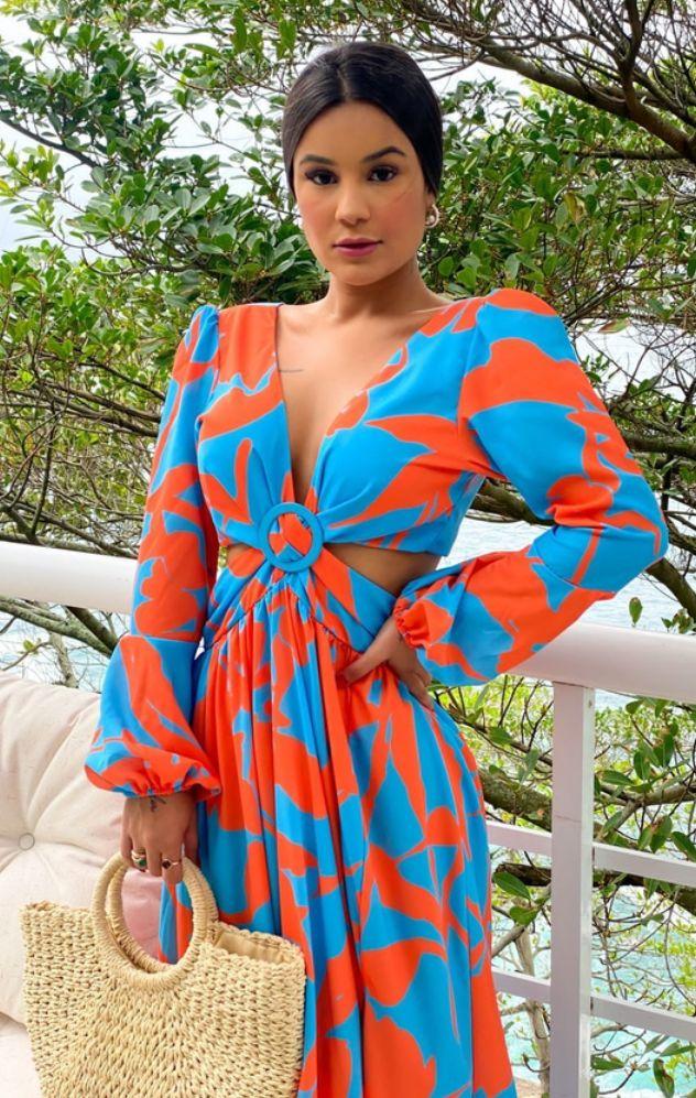 Vestido Thay Longo Floral Crepe Abertura Azul e Laranja