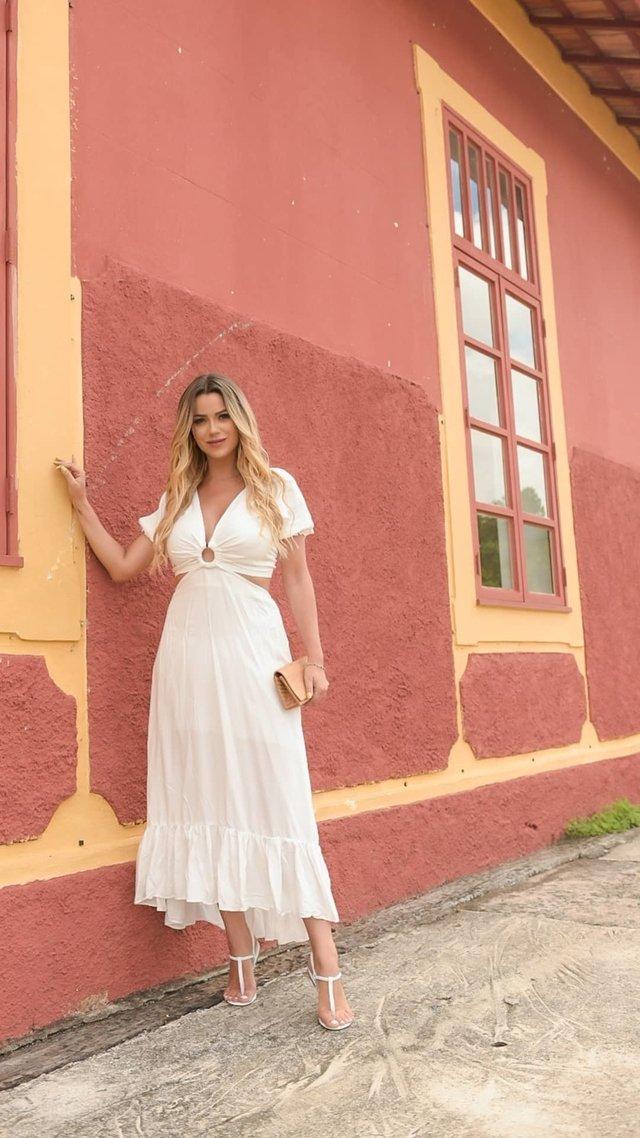 Vestido Viscose Abertura Argola Branco
