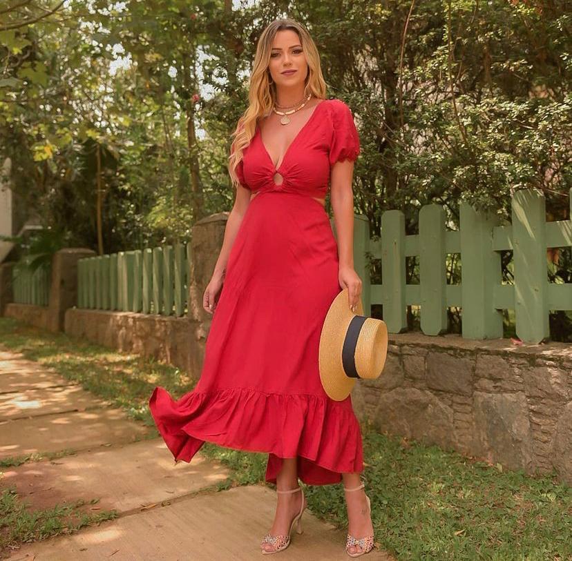 Vestido Viscose Abertura Argola Pink