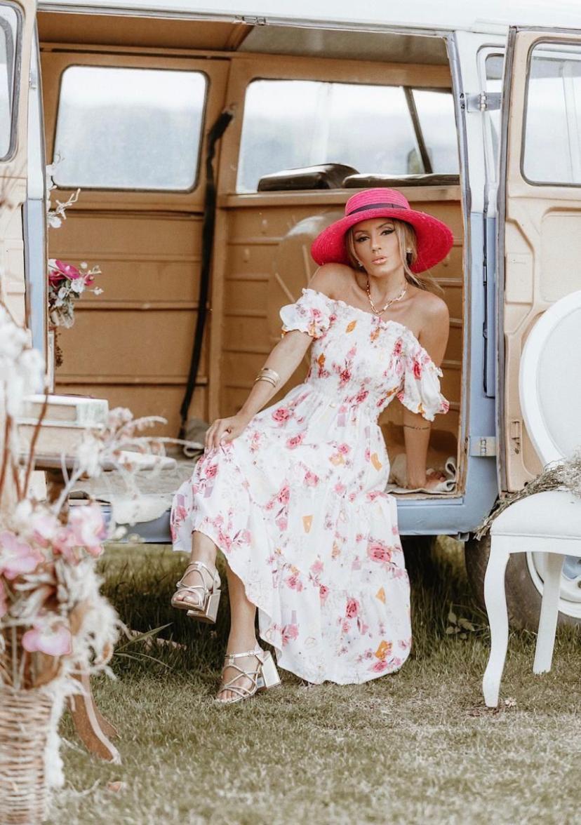 Vestido Viscose Floral Midi
