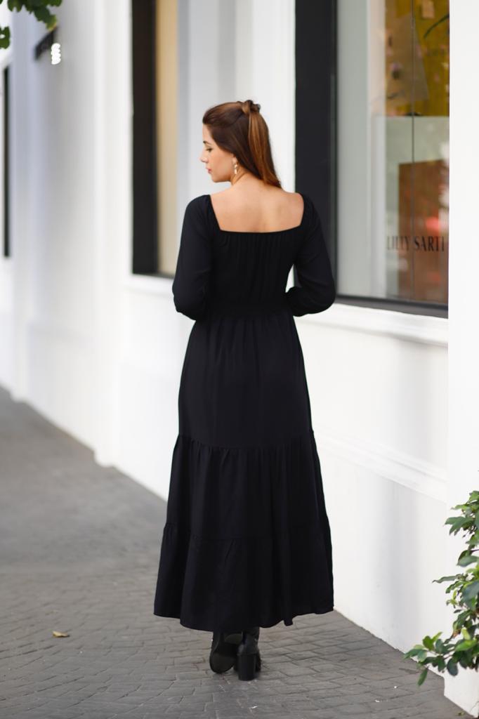 Vestido Viscose Longo Manga Longa Preto Liso