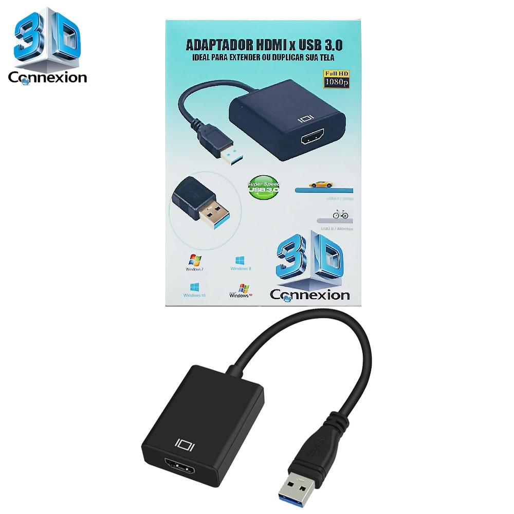 Adaptador de video USB para HDMI 3DConnexion - Perfeito para Extender ou Duplicar sua saída de video do PC / Notebook / Laptop
