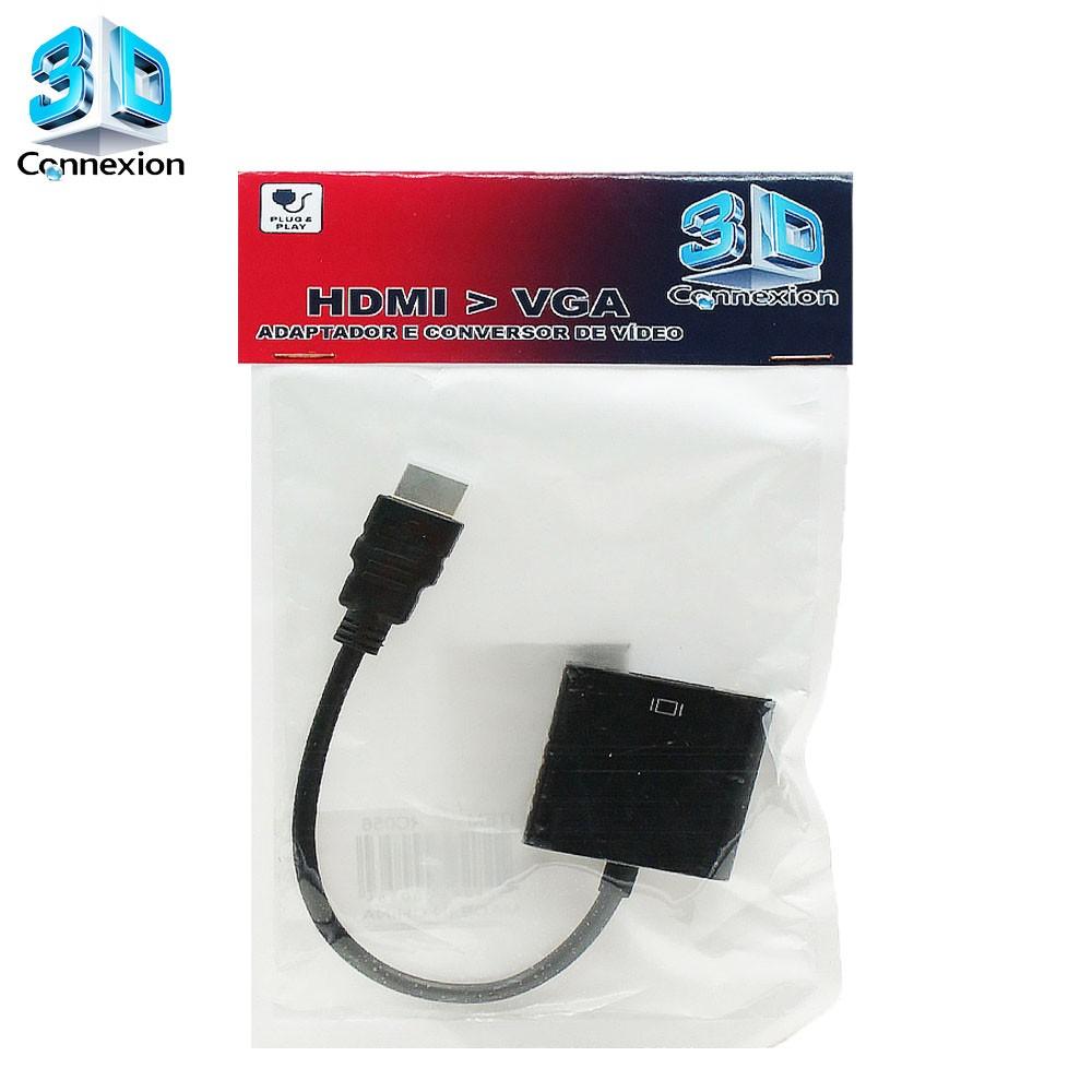 Adaptador e Conversor de video HDMI para VGA 3DConnexion - Ligue seu Notebook / Laptop com saída HDMI em seu monitor com entrada VGA.
