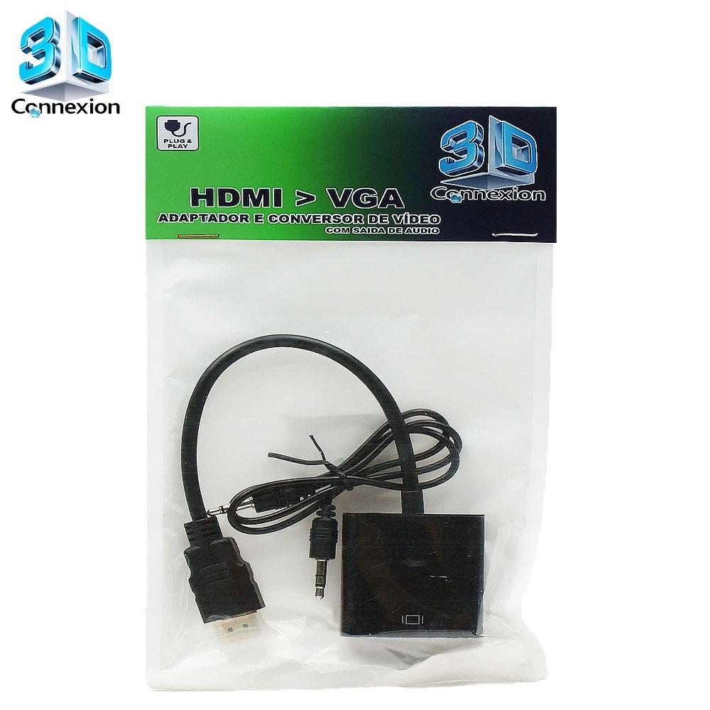 Adaptador e Conversor de video HDMI para VGA com Saída de Áudio - Ligue seu Notebook / Laptop com saída HDMI em seu monitor com entrada VGA.