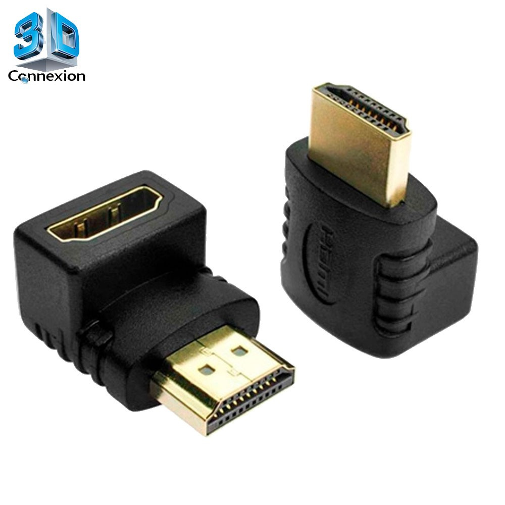 Adaptador HDMI X HDMI 90 Graus em L 1.4v GOLD 3D (3DRJ1251)