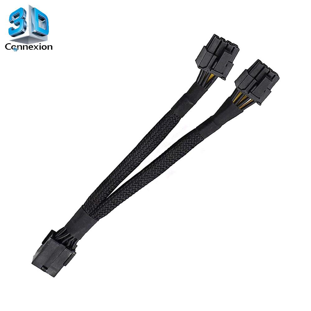 Adaptador Splitter 8 pinos para 2 x 8 pinos GPU 18AWG 100% em cobre e blindado 20cm ( 3DRJ2509 )