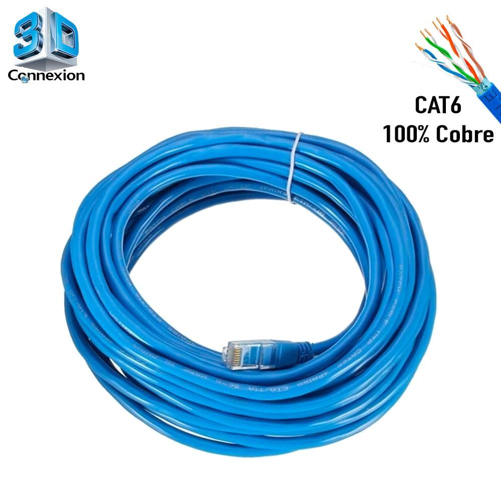 Cabo de Rede Cat6 10 metros pronto para uso até 10/100/1000 Azul 3DConnexion