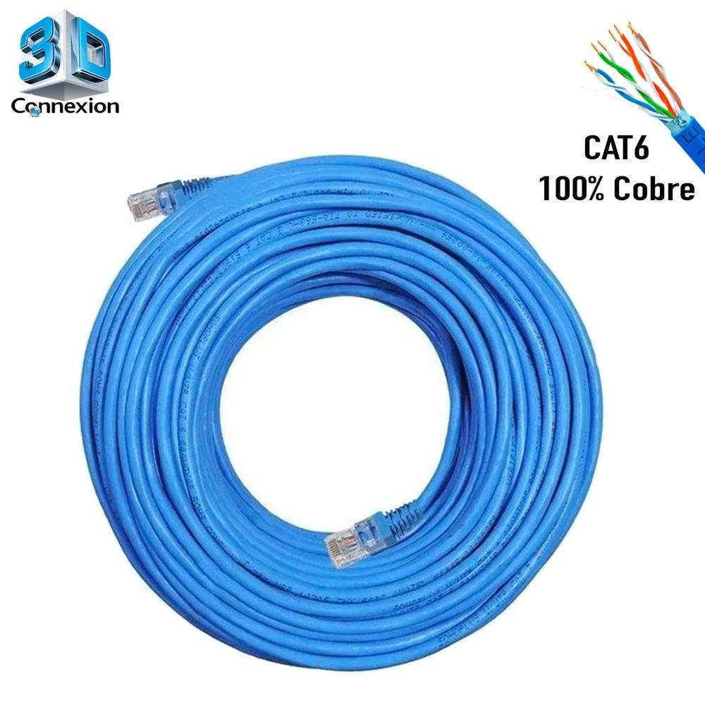 Cabo de Rede Cat6 20 metros pronto para uso até 10/100/1000 Azul 3DConnexion