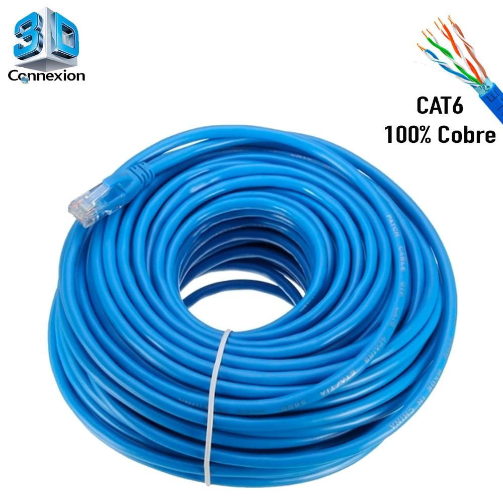 Cabo de Rede Cat6 30 metros pronto para uso até 10/100/1000 Azul 3DConnexion