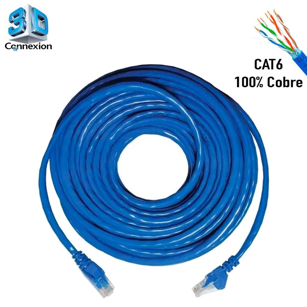 Cabo de Rede Cat6 40 metros pronto para uso até 10/100/1000 Azul 3DConnexion