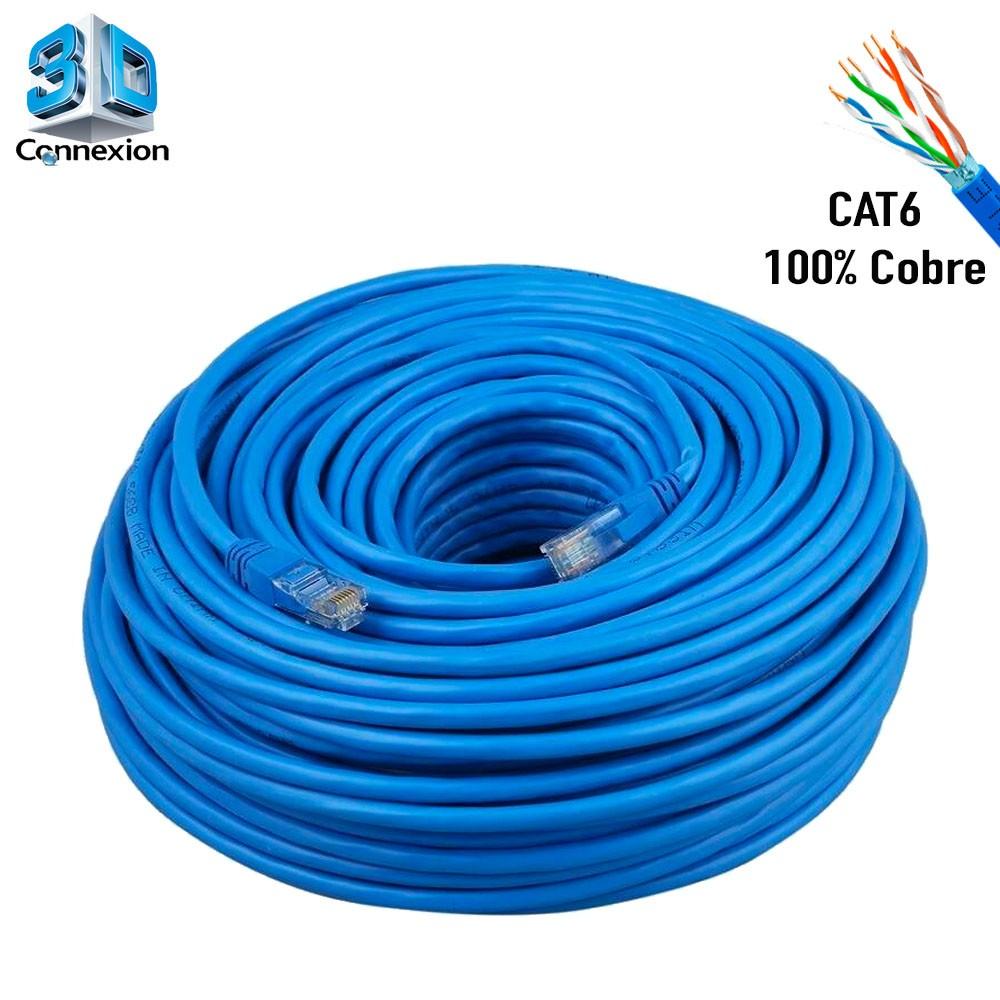 Cabo de Rede Cat6 50 metros pronto para uso até 10/100/1000 Azul 3DConnexion