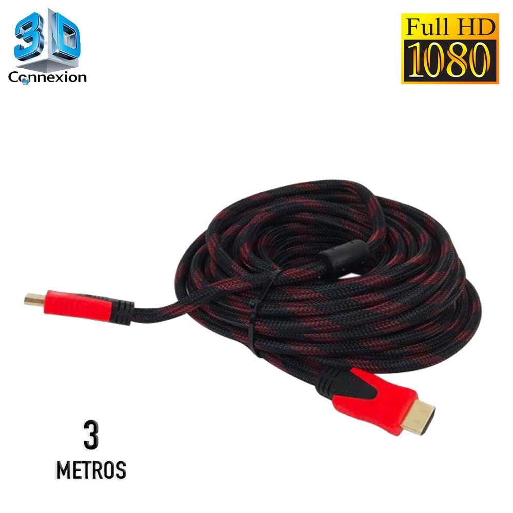 Cabo HDMI 1.4 3D Full HD Nylon 3 metros - 3DConnexion